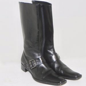 Vero Cuoio Black Leather Ankle Boots Buckle